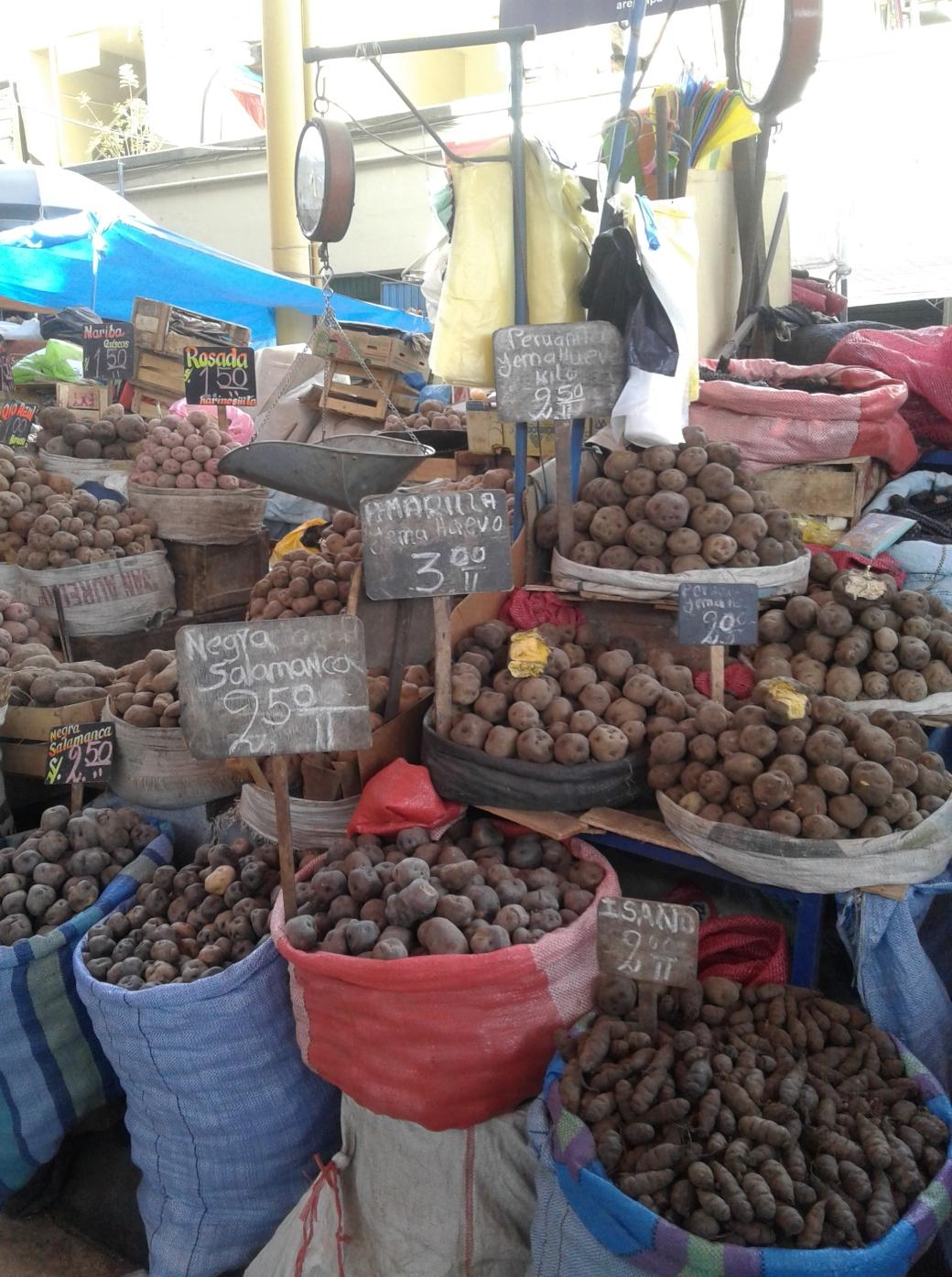 Pomme de terre au marché d'Arequipa au Pérou