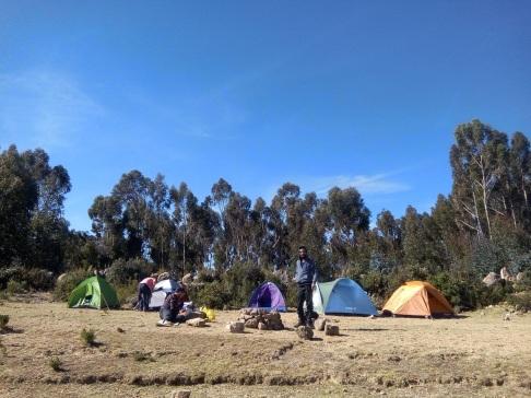 Camping sur l'isla del sol en bolivie