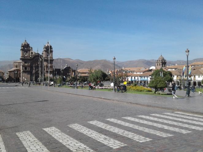 Vue générale de la Place Mayor à Cuzco