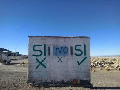 peinture à propos du référendum organisé en Bolivie